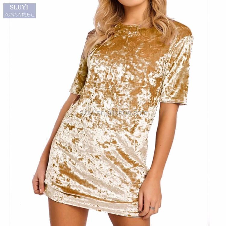 Short Sleeve Velvet Names Shiny Fabrics Dress 2017 Fashion Women ...