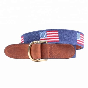 Mens Belts American Flag Needlepoint Double D-Ring Top Grain Leather Belt In Classic Navy