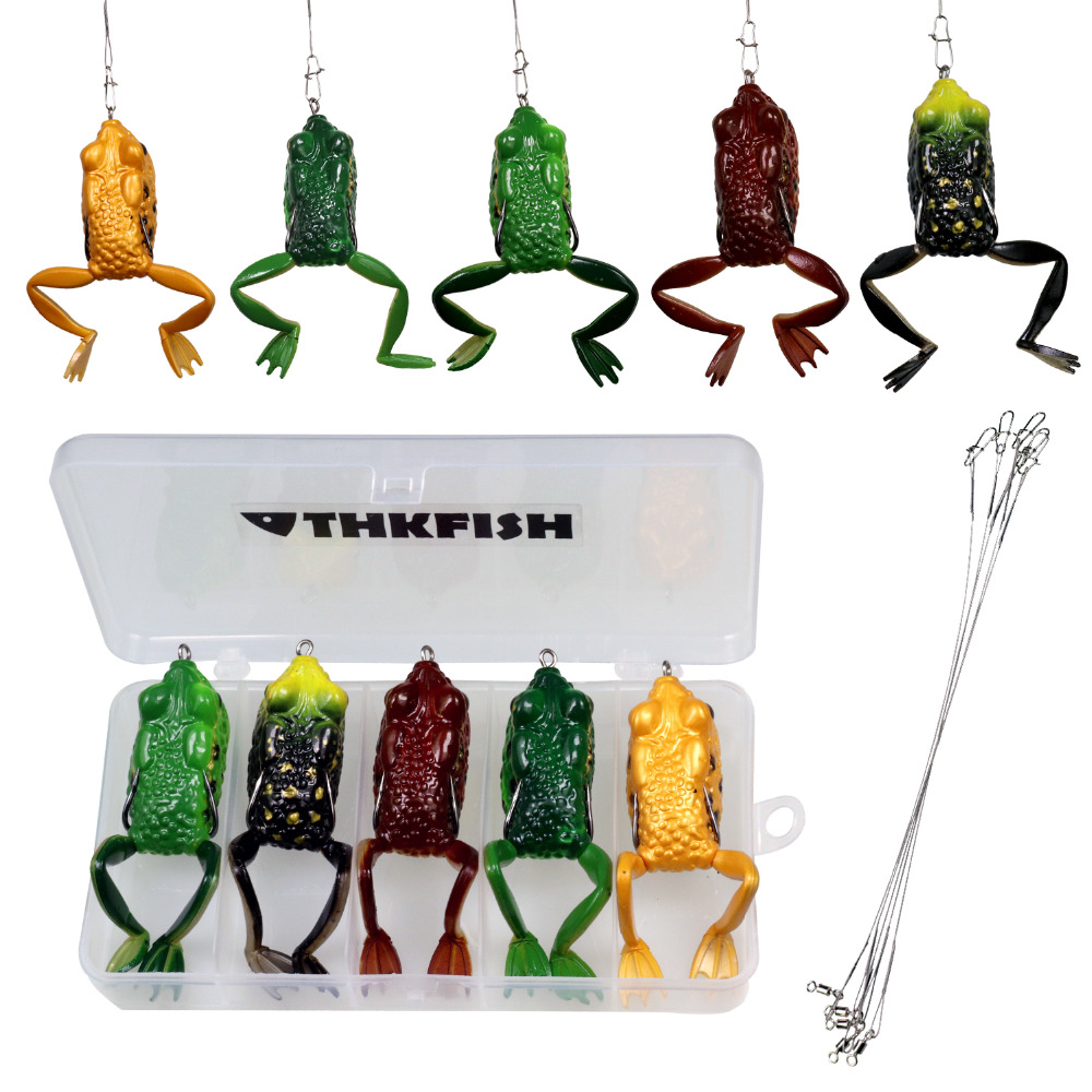 5pcs/box 10cm 12.7g 15.5g Soft Frog <strong>Fishing</strong> Lures Treble Hooks Top water Ray Frog Artificial Crank Toad Soft Bait With Wire