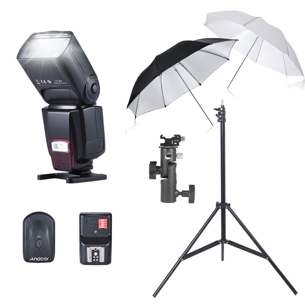 "Andoer Flash Reflective Umbrellas Kit AD-560II On-camera Flash 16 Channels Remote Flash Trigger 33""/84cm White Soft/Silver Reflective 2m/6.56ft Studio Light Stand E Type Bracket Holder"