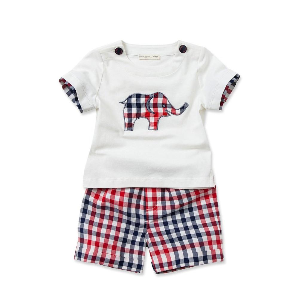 Summer Handsome Baby Grid Short Sleeve Children Kids Baba Suit ...