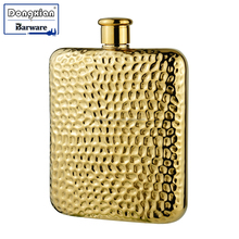 Compact and durable design Copper Hammered, Gold Plated Hip Flask with Screw Top Cover