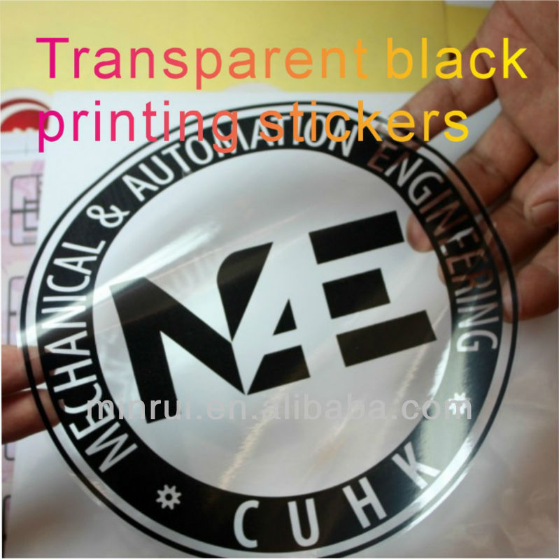 Custom big size transparent labels with black printing for your own logo or package stickerstransparent vinyl labels buy transparent labels transparent