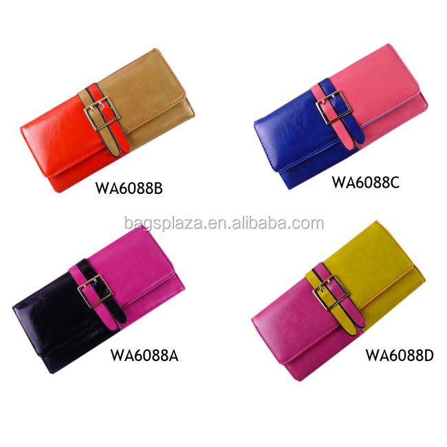 Trend Colorful Trifold Wallets Three Colors Mixed Purse Bags