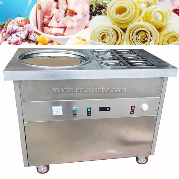 Factory Supply Commercial single and double Fried ice cream roll machine