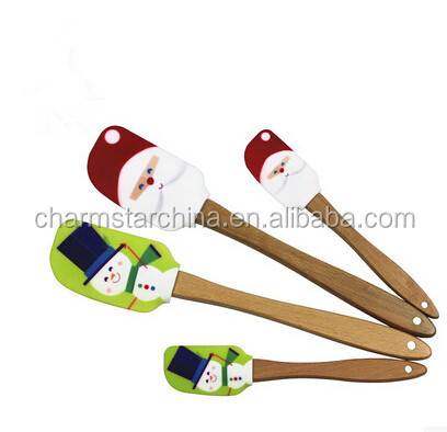 Silicone spatula with wooden handle customized printed logo custom LOGO
