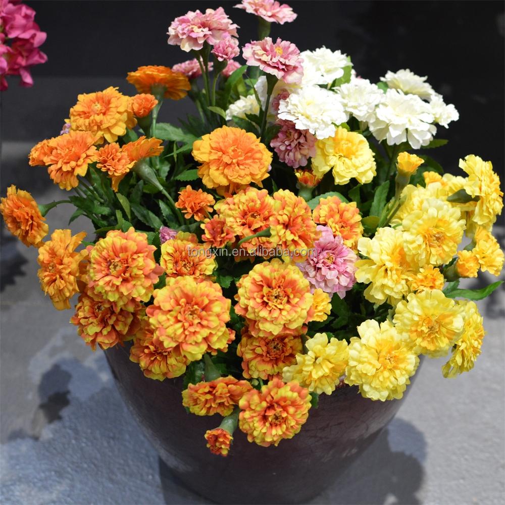 Wholesale Silk Marigold Artificial Flowers B27410 Yellow