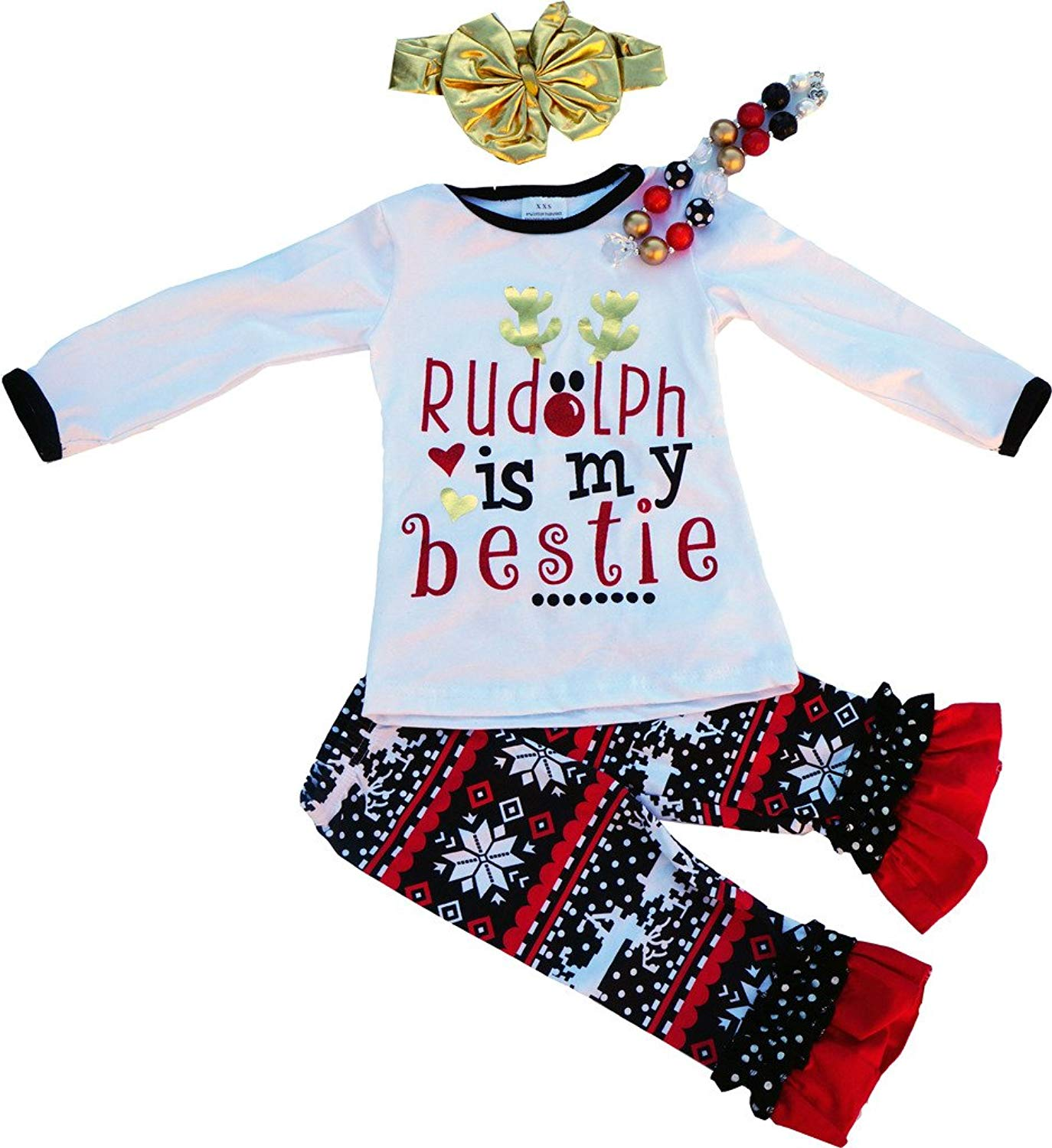 be0ac0ec get quotations boutique clothing girls christmas rudolph is my bestie clothing  set