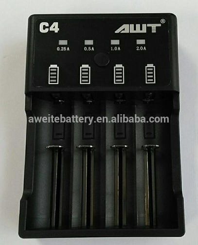 AWT C4 2A 4 slots USB charger li ion 18650 20700 21700 Battery shenzhen portable charger in bulk quantity