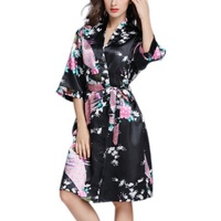 Hot Sale Sexy Ladies Nighty Bridal Bridesmaid Satin Silk Floral Short Kimono Bathrobe For Women Wedding