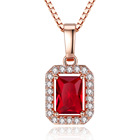 Women Luxury Box Chain Rose Gold Necklace Rectangle Red Ruby Necklace