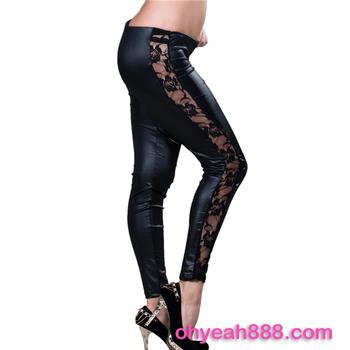 Black Lace Pu Leather Legging Pants Stylish Fashion Latest Ladies Leggings Buy Latest Ladies Legging Legging Pants Hot Selling Legging Product On Alibaba Com