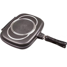 Non-Stick Marble Stone Coating Rectangular Aluminum Double Grill Pan