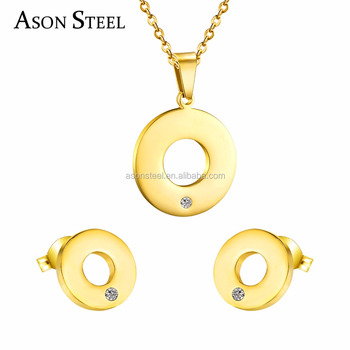 d5afc5fcc7b0 joyas de acero inoxidable Stainless Steel Round Jewelry Set bisuteria  brides to earrings and necklaces