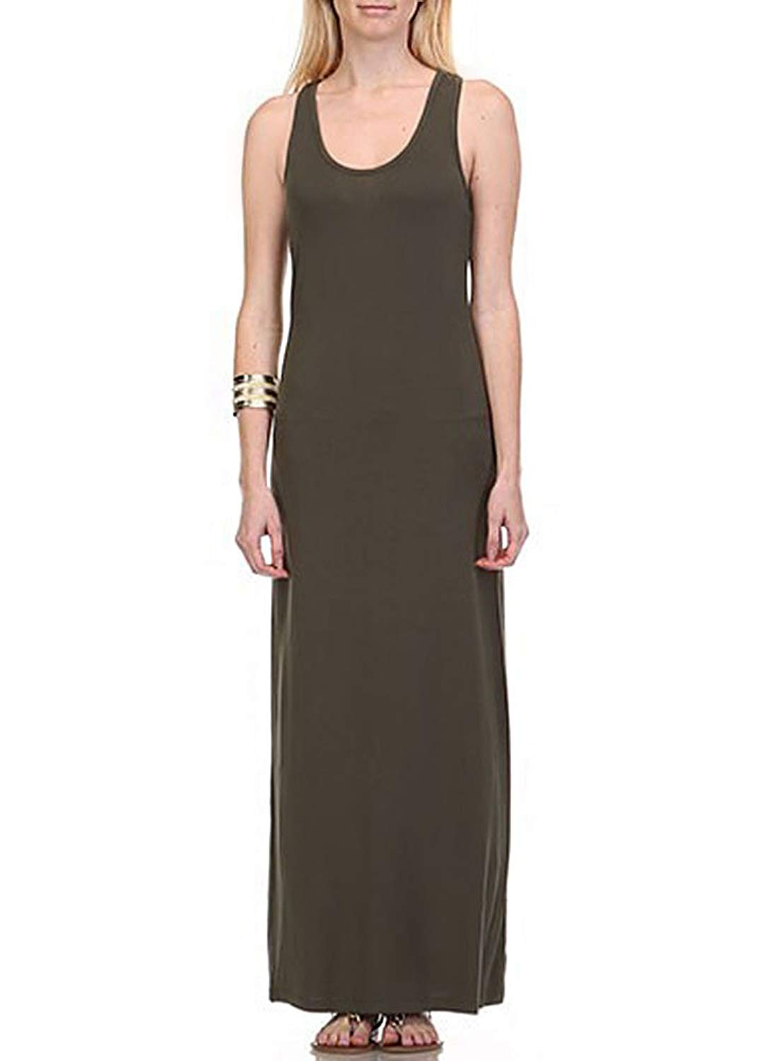 5b800fe841830 Get Quotations · Heart&Hips and Active Basic Solid Color Racerback Scoop  Neck Sleeveless Tank Maxi Dress