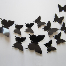 12pcs Hot Wonderful Art Design Decal Wall Sticker Home Decor Black blue red yellow Room Decorations 3D Butterfly wedding decor
