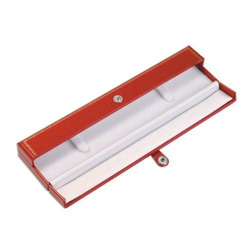 Classic Leatherette Red Double Doors Bracelet Gift Box White Velvet Inside Button to close. White Cardboard Box