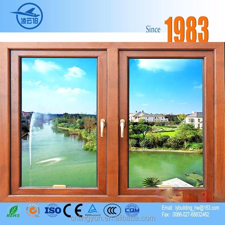 Excelente calidad de aluminio y marco de madera ventana deslizante ...