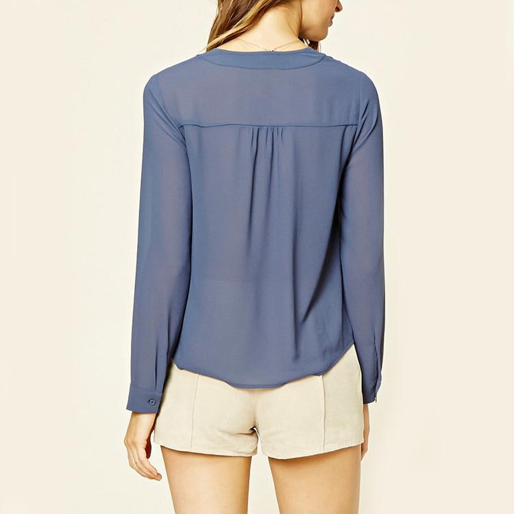 2018 China Supplier Boutique Korean Fashion Women Tunic Long Sleeves Chiffon Blouse