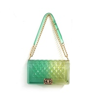 Hotsale rainbow color candy bags shoulder handbag clutch purse Women Jelly Transparent purses