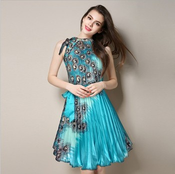 zm60498a Summer new product S~4XL a large dress with a shoulder print and a silk pleated skirt