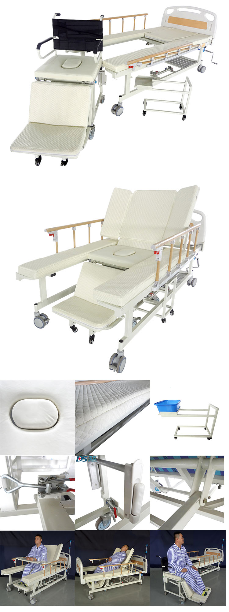 5 function manual adjustable elderly home nursing medical hospital wheelchair cum bed with toilet MNB-05