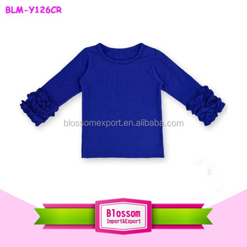 988f8a1e74 Solid Color Royal Blue Baby Cotton Icing Shirts Girls Ruffle Icing Shirt  Triple Ruffle Long Sleeve