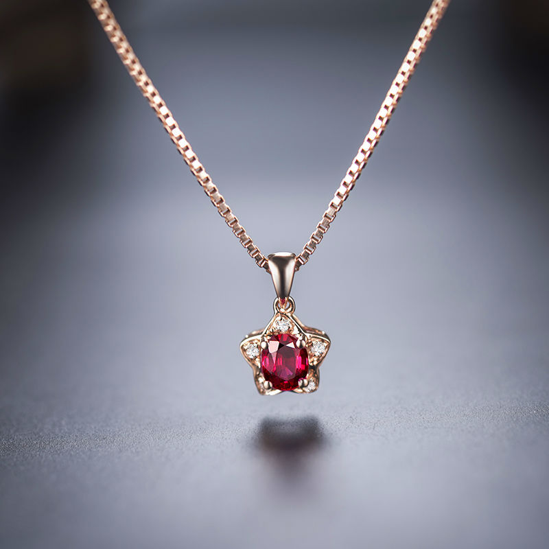 Best gift oval 3x4mm solid 18kt rose gold diamond natural ruby best gift oval 3x4mm solid 18kt rose gold diamond natural ruby pendant necklace for women unique aloadofball Image collections