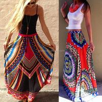 K1186A 2017 Fashionable Maxi Printed Skirt Slik Like Sari Long Gypsy Skirts