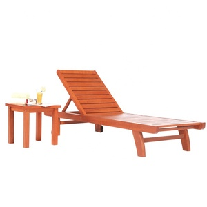 Cheap Commercial Outdoor Slumber Bed Garden Furniture wooden sun lounger