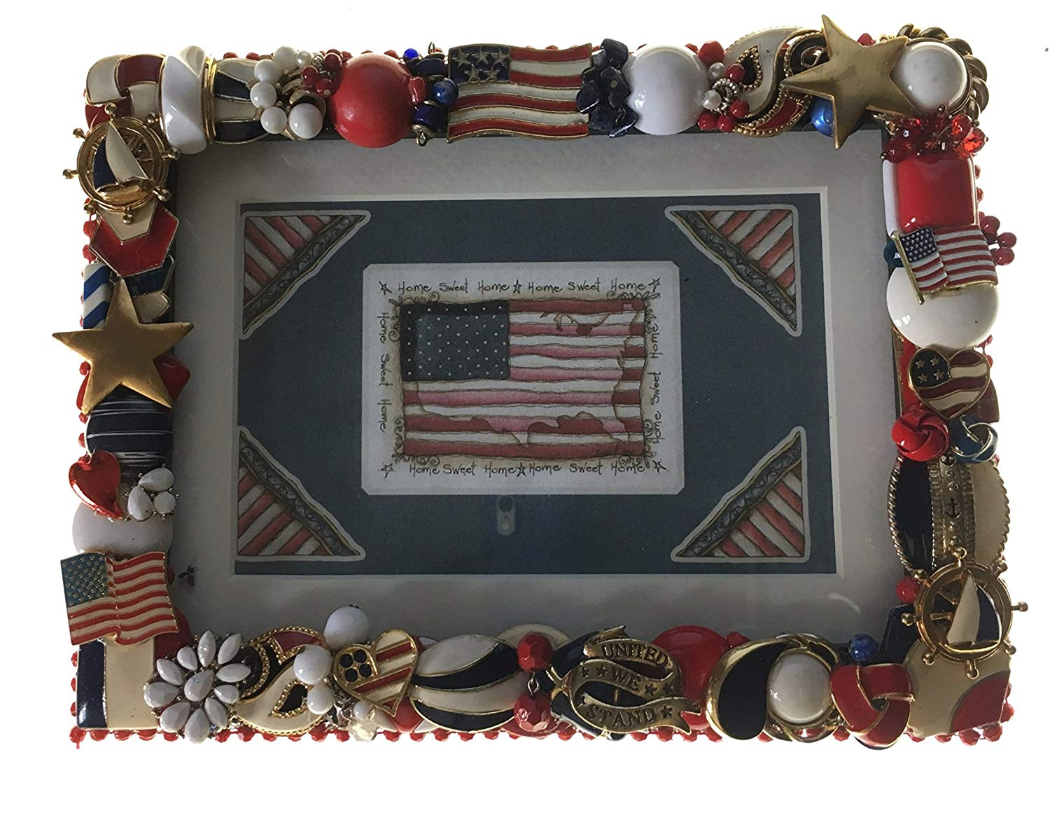 "Patriotic USA, Red, White & Blue Sparkle Picture Frame Handcrafted From Recycled Vintage Jewelry, Holds 5"" x 7"" or 4"" x 6"" Picture, Hang on Wall or Stand Alone, #888"