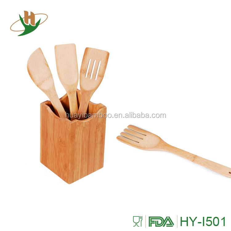Bamboo spatula kitchen utensils set with holder