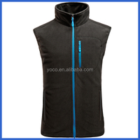Mens sleeveless polar fleece vest with chest zip pocket