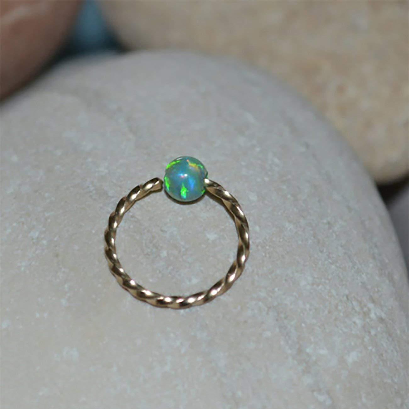 9d9eda5ee Get Quotations · 3mm Opal NOSE RING // Gold Nose Ring Stud - 20 gauge  Cartilage Earring -