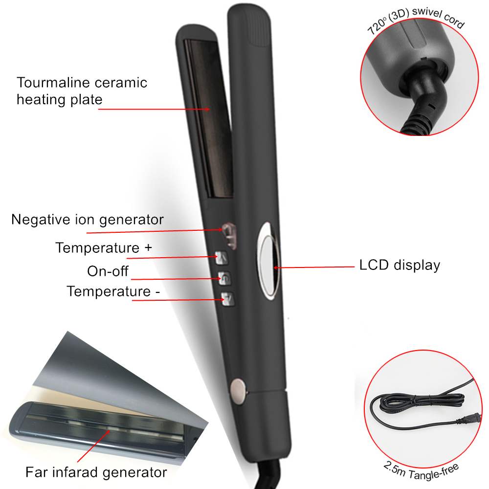 1 inch Ceramic Tourmaline Flat Iron Hair Straightener with Negative Ion,Far Infrared ,Adjustable Temp,Digital LCD Display