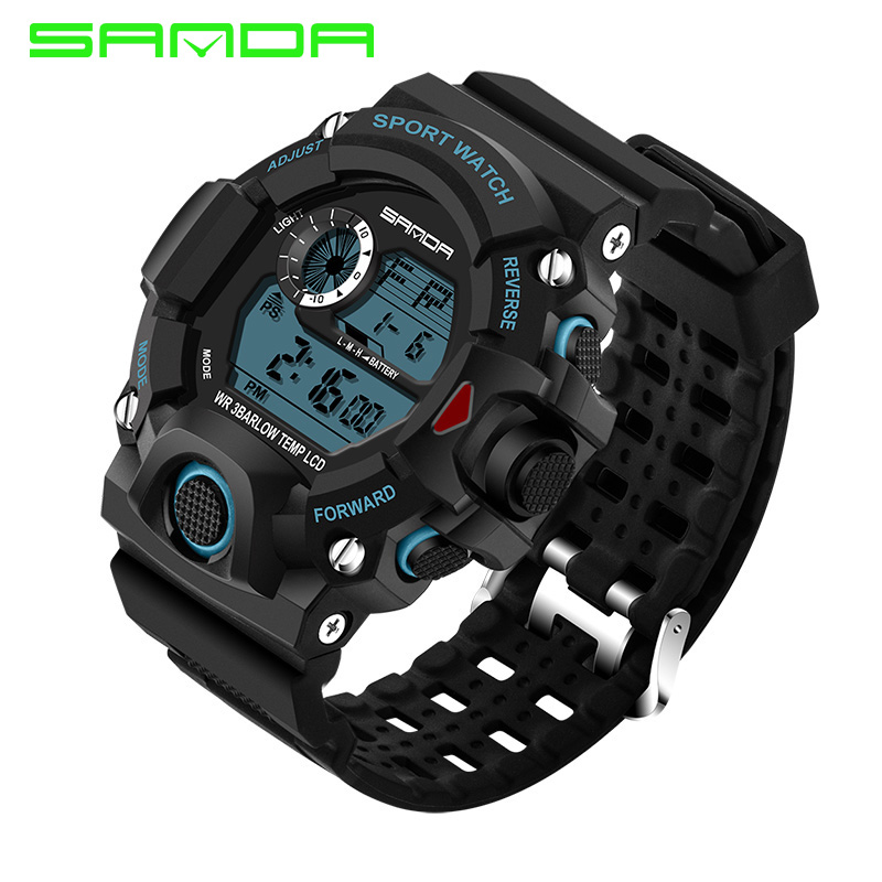 SANDA 326 2017 New Fashion Style Men Military Outdoor Sports Watches Casual Electronic Men's LED Digital 30m Dive Swim Dress Wa