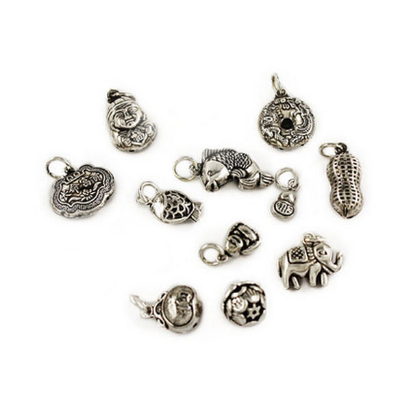 Antique Tibetan Silver Tone Style Lucky Elephant / Fish/Happy Buddha /Donut /Peanut 3D jewelry Charm