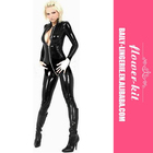 Cat Suit With Deep V Zipper Front Leather Catsuit For Women