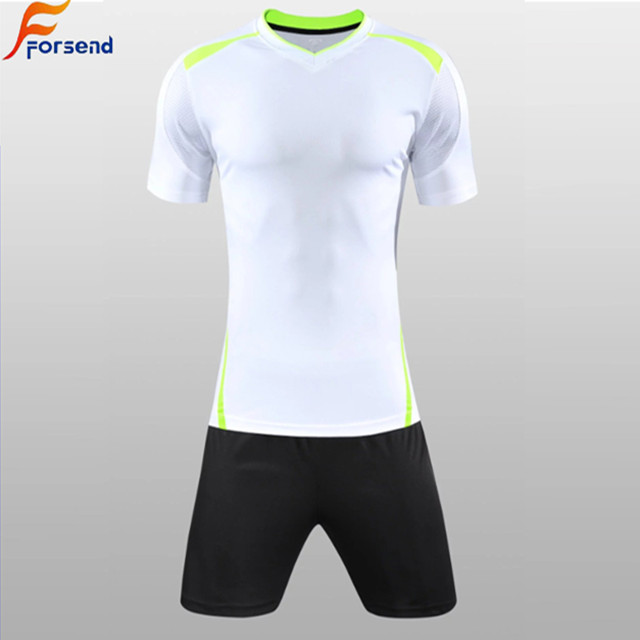 Best Blank Best Selling Short Sleeves Customized White/ Green/ <strong>Orange</strong>/ Blue Color Cheap Soccer Jersey Set
