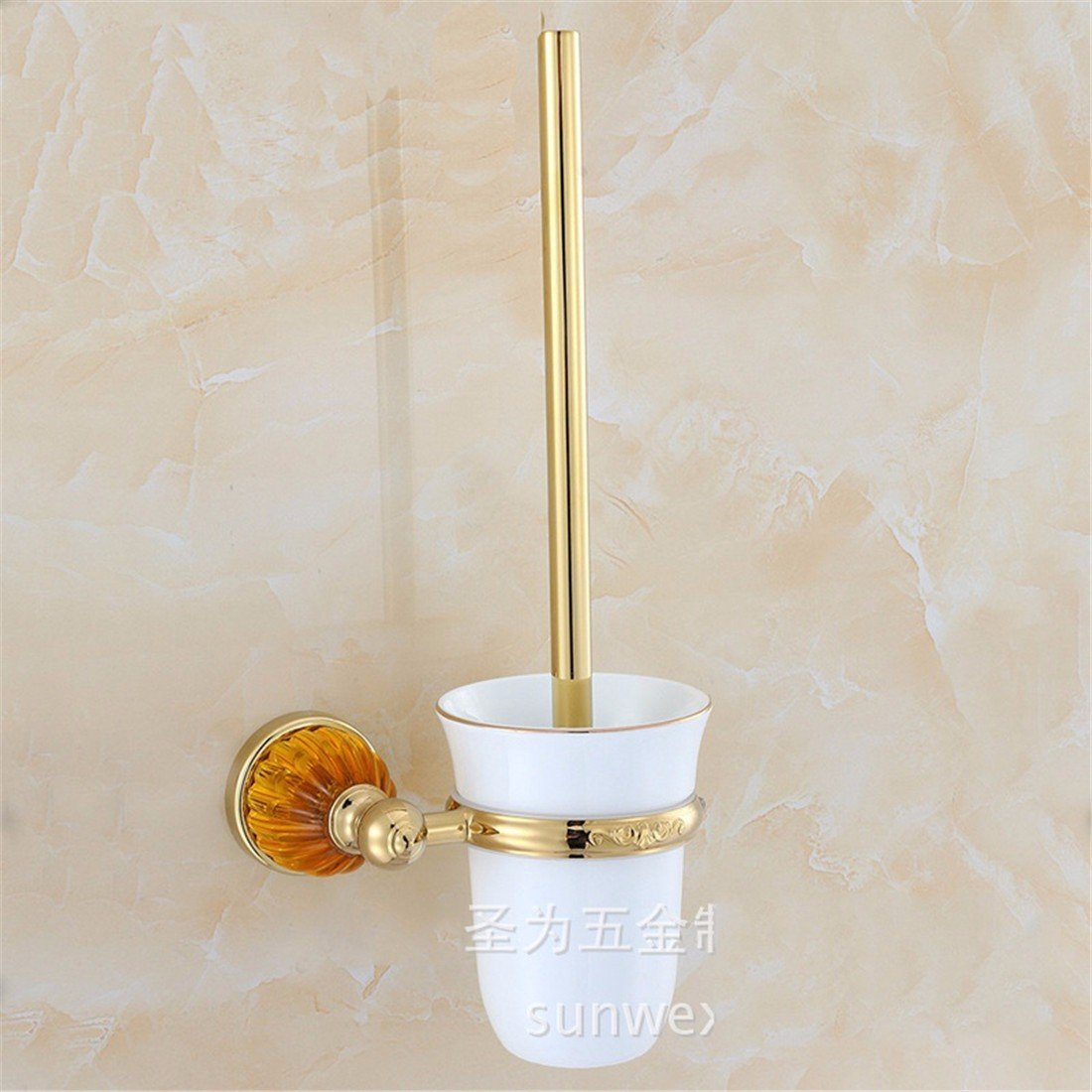 LAONA European style gold zinc alloy amber base bathroom fittings towel ring single and double rod,Toilet brush