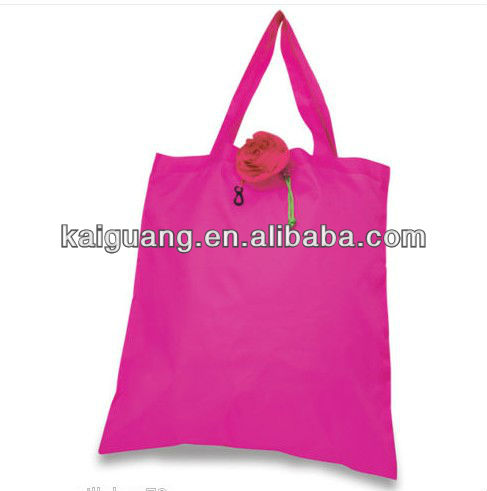 Rose Flower Tote Shopping Bags Compactable & Foldable Drawstring