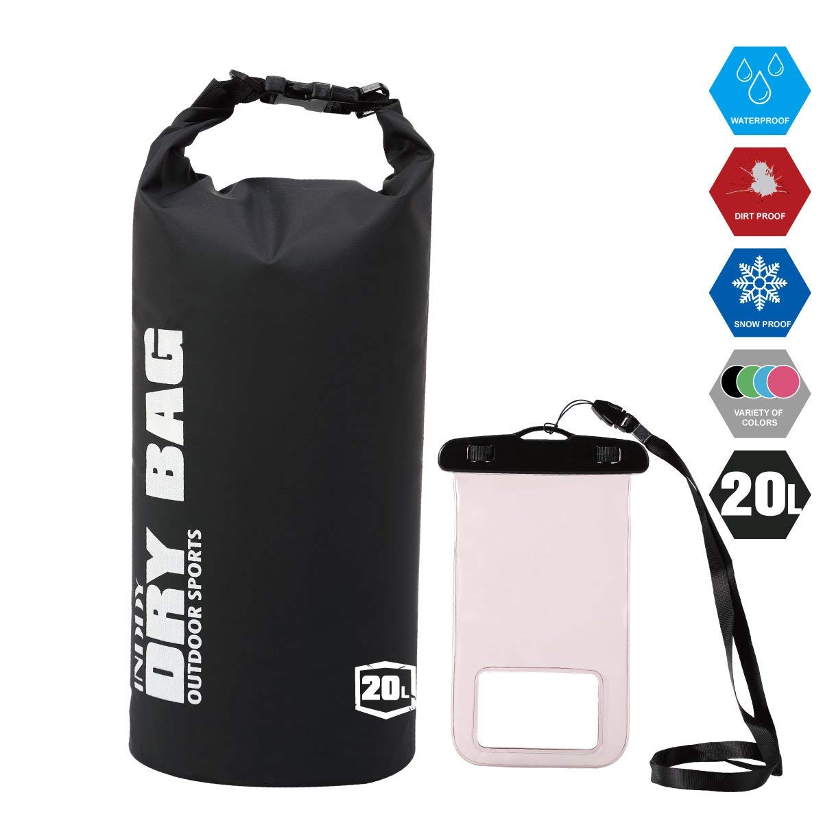 0cb6e6f8488c Get Quotations · Inddy Waterproof Dry Bag 5L 10L 20L 30L 40L Dry Gear Bag