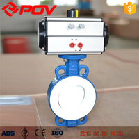 wafer connection pneumatic butterfly valve lined PTFE
