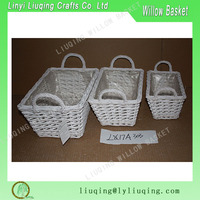 Set of 3 Willow Basket Natural Easy Carrying Storage Multipurpose Use New