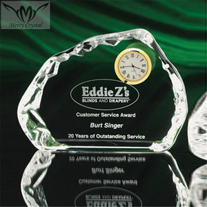 Hot Selling K9 Crystal Clock Nigeria Map Shape Glass Award With Base