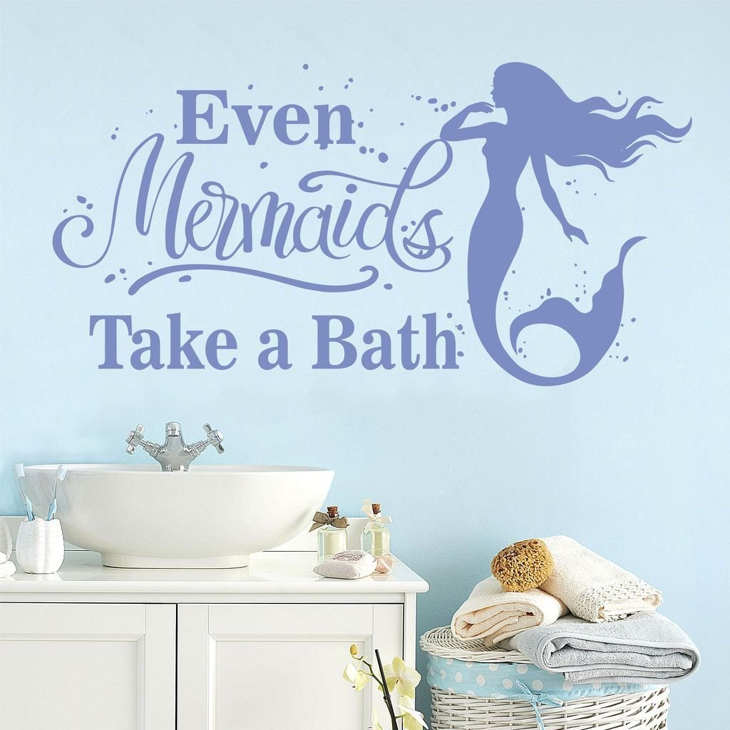 Buy Even Mermaids Take Baths Childrens Bathroom Quotes Wall Decals