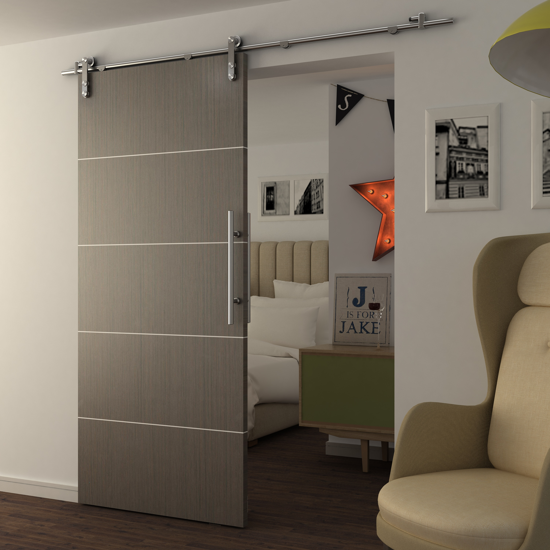 Modern sliding interior barn door pvc door with aluminum decorative lines