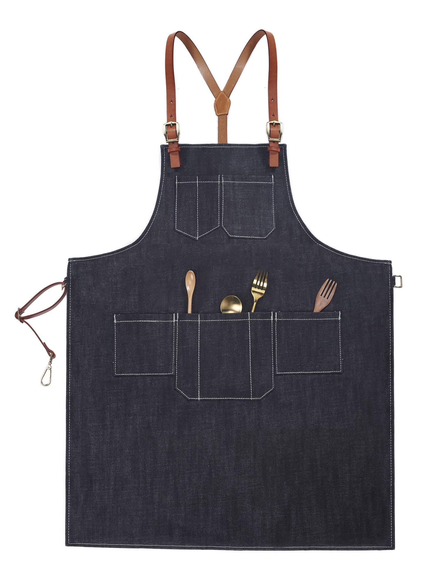 Home-organizer Tech Multi-Use Detachable Tool Apron Heavy Duty Denim Jean Work Apron Salon Barber Hairdressers Apron BBQ Gril Housewife Apron with Pockets, Adjustable for Men & Women (L)