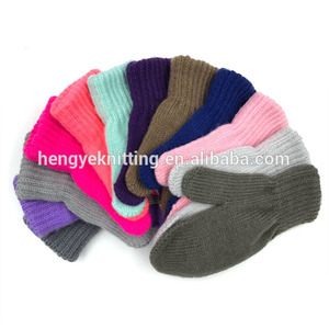 Children colorful fingerless warm mittens knit magic gloves