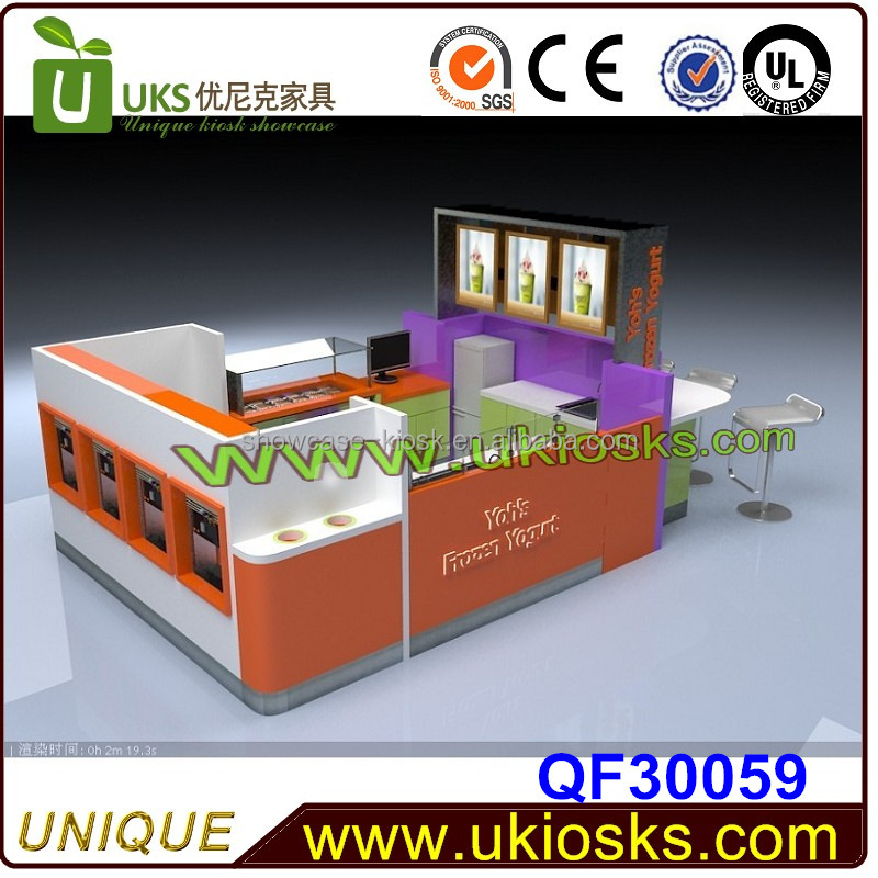 3*2m fresh design food kiosk apply to sell delicious frozen yogurt